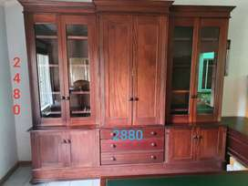 Office Furniture, Main Wall unit, with 2 desks and Leather Chair