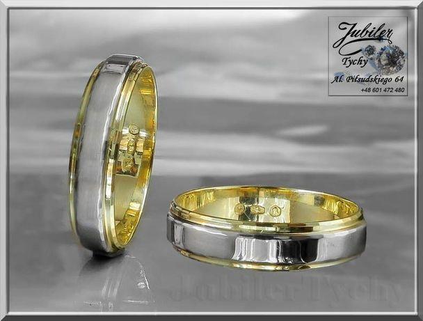Złote obrączki z wstawką białego złota Złoto 585 TANIO Tychy Wyprzedaż Tychy - image 1