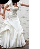Śmietankowa / szampańska suknia ślubna 175/180 cm rozmiar 38 M / 40 L