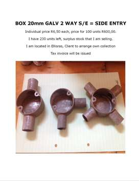 BOX 20mm GALV 2 WAY S/E - SIDE ENTRY