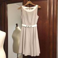 Sukienka beżowa rozkloszowana r. 36, piękny materiał,