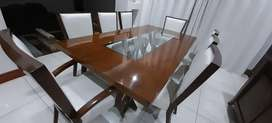 8 seater walnut dining suite with sideboard