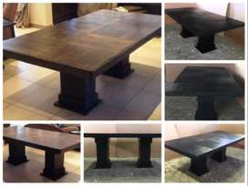 Patio table Farmhouse series 2400 with pedestal legs - Stained