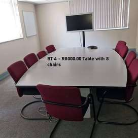 Pre owned Boardroom Table with 8 Chairs