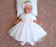 BELLENA - Sukienka z rękawkiem na 50, 56, 62, 68 i 74 cm na chrzest
