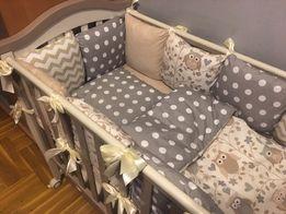 Защита в кроватку, бортики подушки,постельное бомбон плед