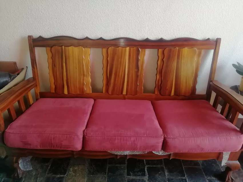 Antique yellow wood ball & claw lounge set