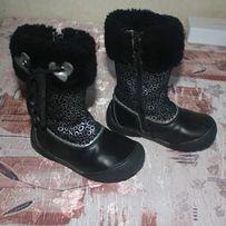 Зимние кожаные сапоги для девочки натуральная кожа и мех, размер 26