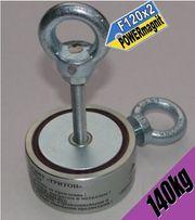 ДВУХСТОРОННИЙ поисковый неодимовый магнит ТРИТОН, f120х2-150кг +ТРОС