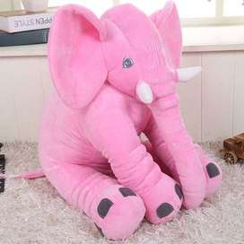 Brand New Large Stuffed Elephant pillow in Pink / Grey