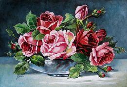 Obraz olejny - Kwiaty - RÓŻE W WAZONIE.