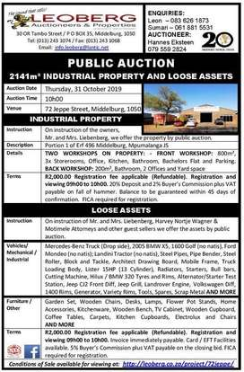 Industrial Property and Loose Assets - Public Auction - 31 October '19