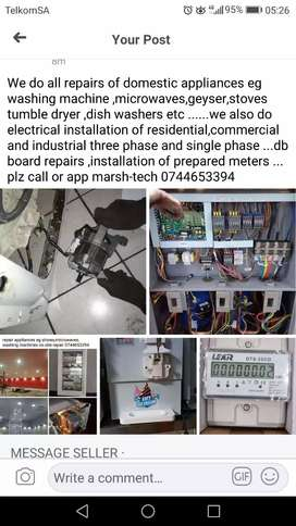Electrical installation and appliances repairs