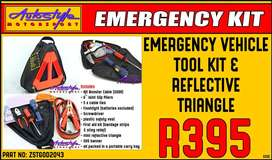 Emergency Vehicle Tool Kit and Reflective Triangle  includes - 8ft Boo