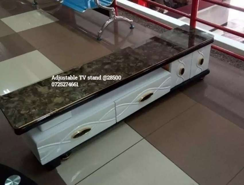 Adjustable white marble TV stand 0