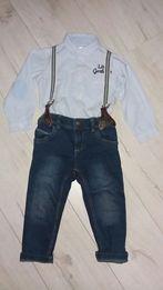 Zestaw koszula spodnie szelki elegant roczek święta 86/92
