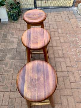 Vintage Wooden Barstools Set of 3