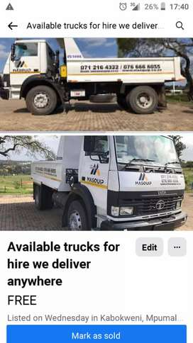 Trucks for hire we delivere anywhere