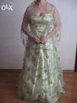 Выпускное вечернее платье, оливковое с бисером, торг