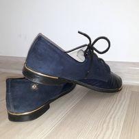 Туфли кожа+замш темно синие, 38-39р.