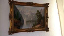 Obraz olejowy malowany na płótnie stary że złota rama Autor krajobraz