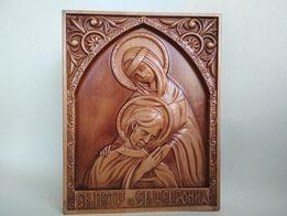 """Резная Икона из дерева """"Святой Пётр и Святая Феврония."""