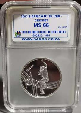 2003 Cricket Silver R1 Graded MS66 - MINTAGE OF ONLY 447
