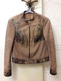 Курточка кожаная с вставками меха пони