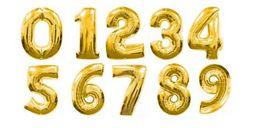 Шар фольгированный цифра серебро и золото 70 см фольга