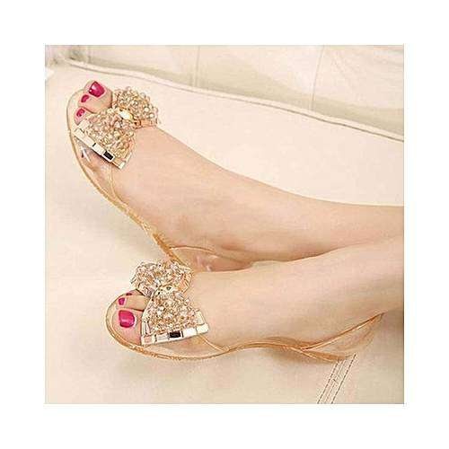 Classic female fancy rubber sandals with beaded designs 0