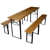 Nowy zestaw składany piwny stół + 2 ławki ławki ława drewno jodłowe