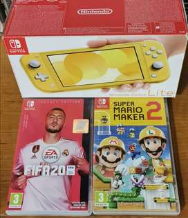Nintendo switch lite with 2 games brand new