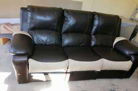 3 piece upper geniune leather recliner couches