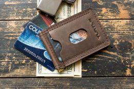 Зажим для денег и купюр mod.Spot кожаный кошелек портмоне бумажник