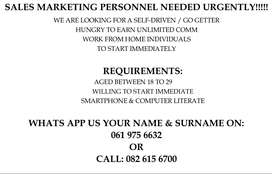 SALES AGENTS NEEDED URGENTLY