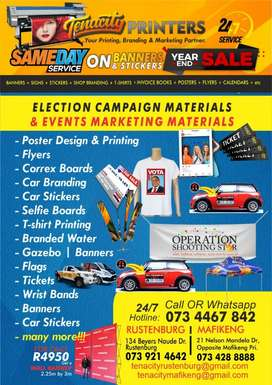 Printing of election campaig and  event marketing material, calendars