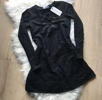 Nowa czarna sukienka wiązany dekolt