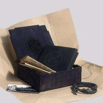 Подарочный набор для мужчины: Мужской кошелёк + Браслет + Коробочка