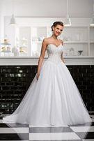 Suknia ślubna diamond śnieżnobiała kryształy ślub
