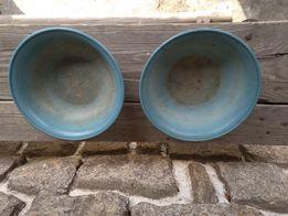 Stare bakelitowe niebieskie miski z lat 1960
