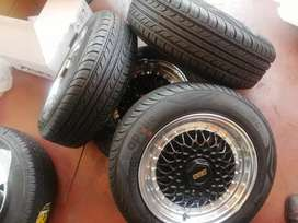 Bbs mags with tyres size 14 set pcd 4/100 /108 fits most of cars