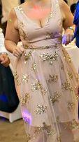 Nude jasnorozowa bezowa sukienka tiul złote cekiny rozkloszowana lux