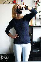 Granatowy sweterek diy z kieszonką