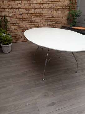 White polished boardroom table