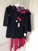 Нарядные тёплые платья с шапочкой и колготками р.98,104,110