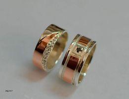 Пара Обручальных колец . Серебряные с Золотыми вставками