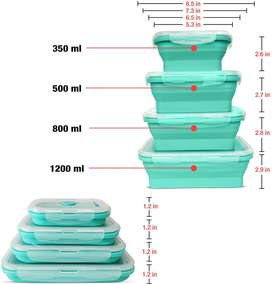 Silicon collapside food storage containers - set of 4