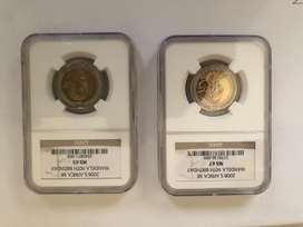 2008 Mandela 90th Birthday NGC Graded MS67 and MS65 R5 coin set