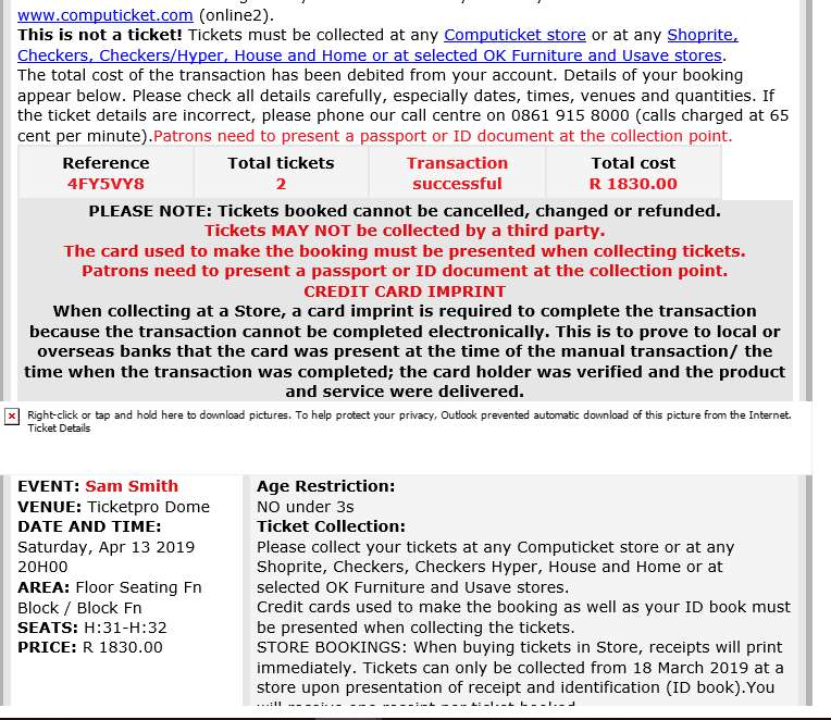 Sam Smith Tickets - Ticketpro Dome. Selling 2 tickets to Sam Smith 0