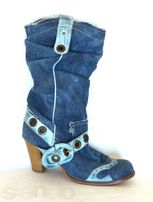 Roberto Cavalli стильные сапоги коттон+кожа